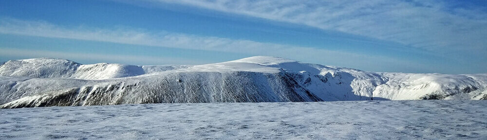 view of glas maol in snow